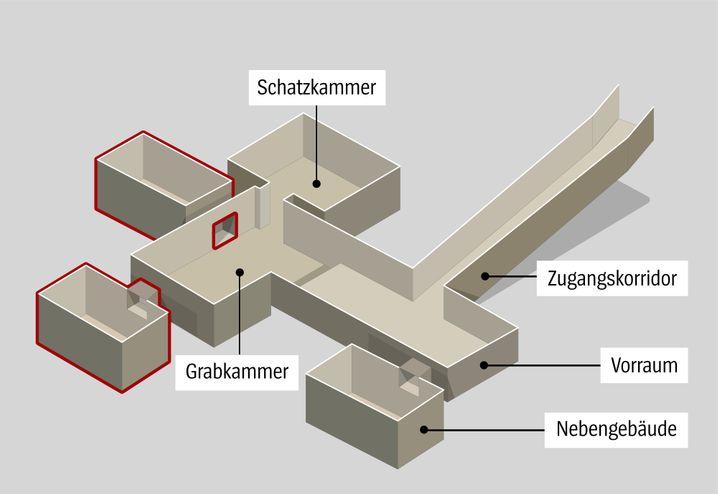 Forscher vermuten zwei Hohlräume hinter den Wänden des Pharao-Grabes (rötlich gekennzeichnet). Eine Theorie der Archäologen besagt, dass dort Nofretete begraben liegt.