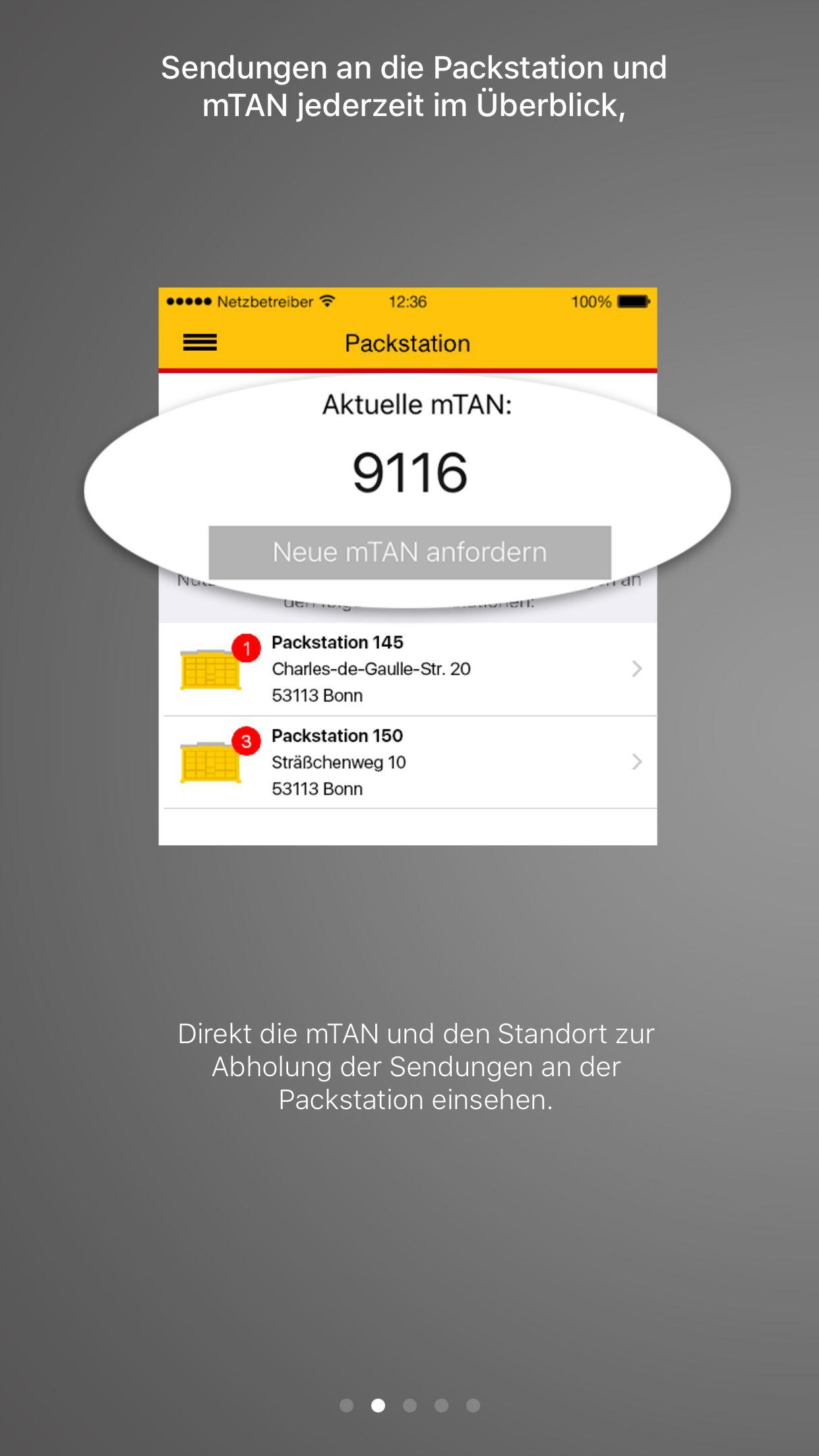 NUR ALS ZITAT Screenshot DHL-Paket-App
