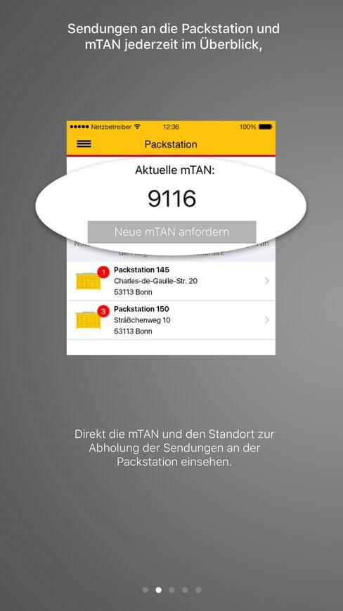 """mTAN-Funktion in der """"DHL Paket""""-App"""