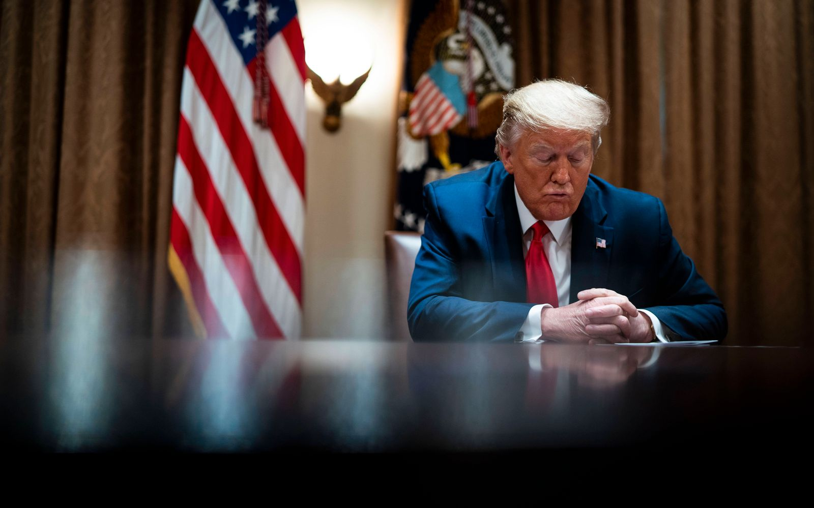 United States President Donald J. Trump makes remarks during a meeting with Healthcare Executives in the Cabinet Room of
