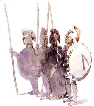 Lange Zeit unbesiegbar: Spartaner mit Schilden und Lanzen