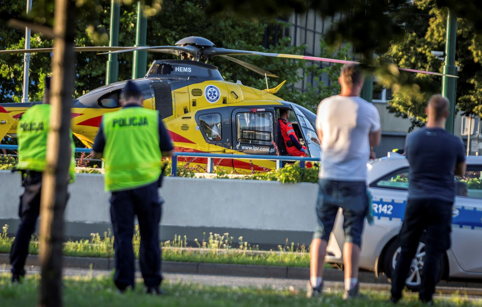 A rescue helicopter is seen on the site where Dutch cyclists Fabio Jakobsen and Dylan Groenewegen crashed in Katowice