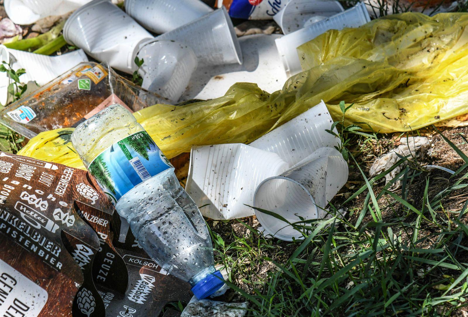 Wegwerfgeschirr Plastikm¸ll Umweltvandalismus nach einem Picknick in einem Berliner Stadtpark Fri