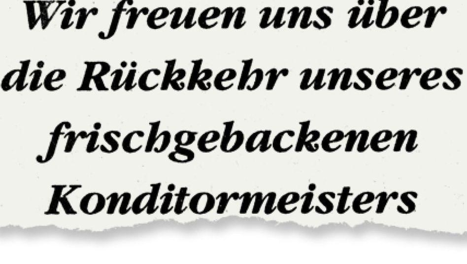 Aus einer Anzeige in der »Schwetzinger Zeitung«