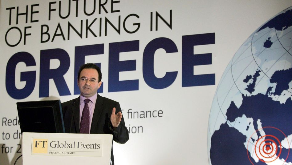 Greek Finance Minister George Papaconstantinou speaking at a conference in January.