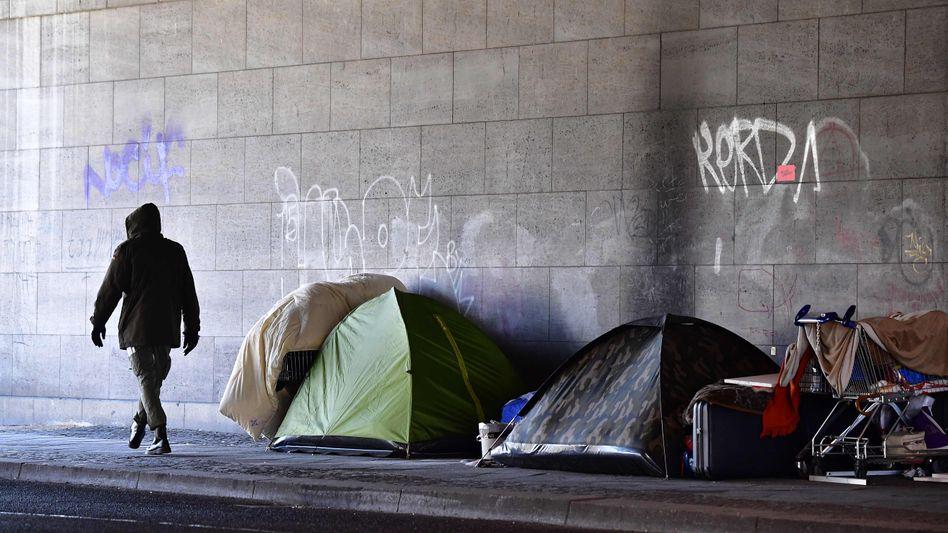 Zelte von Obdachlosen in Berlin