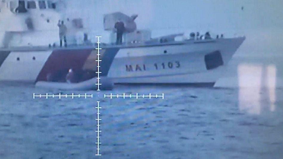 A Frontex ship in the Agean Sea (Excerpt from a Turkish coast guard video.)