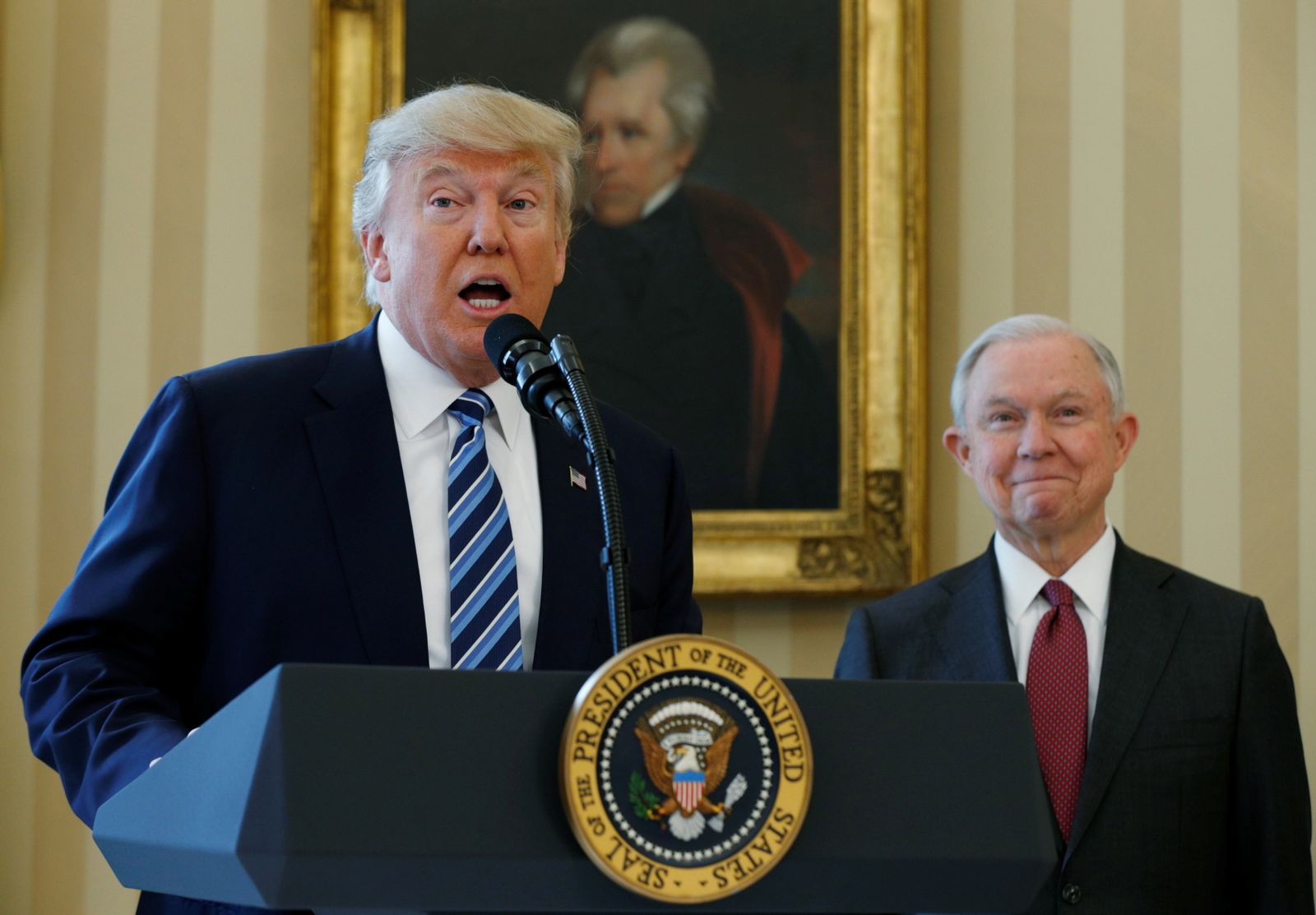 FILE PHOTO: U.S. President Trump speaks during swearing-in of Attorney General Sessions at the White House in Washington