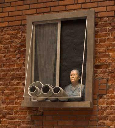 """Stefanie Bühler's sculpture of a staring granny called """"Die Nachbarin"""" -- The Neighbor."""