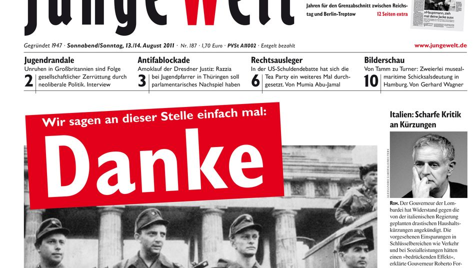 Saturday's front page of the newspaper Junge Welt has provoked controversy.