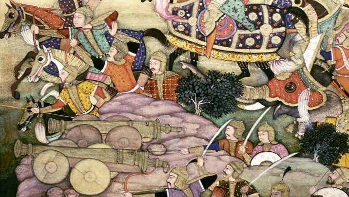 Feldzug der Moguln (Miniatur aus Indien): »Ein mit Feuer gesättigtes Schlachtfeld«