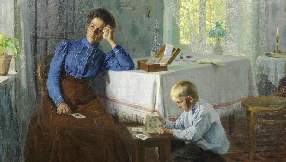 Das Kartenhaus, Gemälde von Semen Markovich Prokhorov (1909): »Das soziale Wetter fehlt«