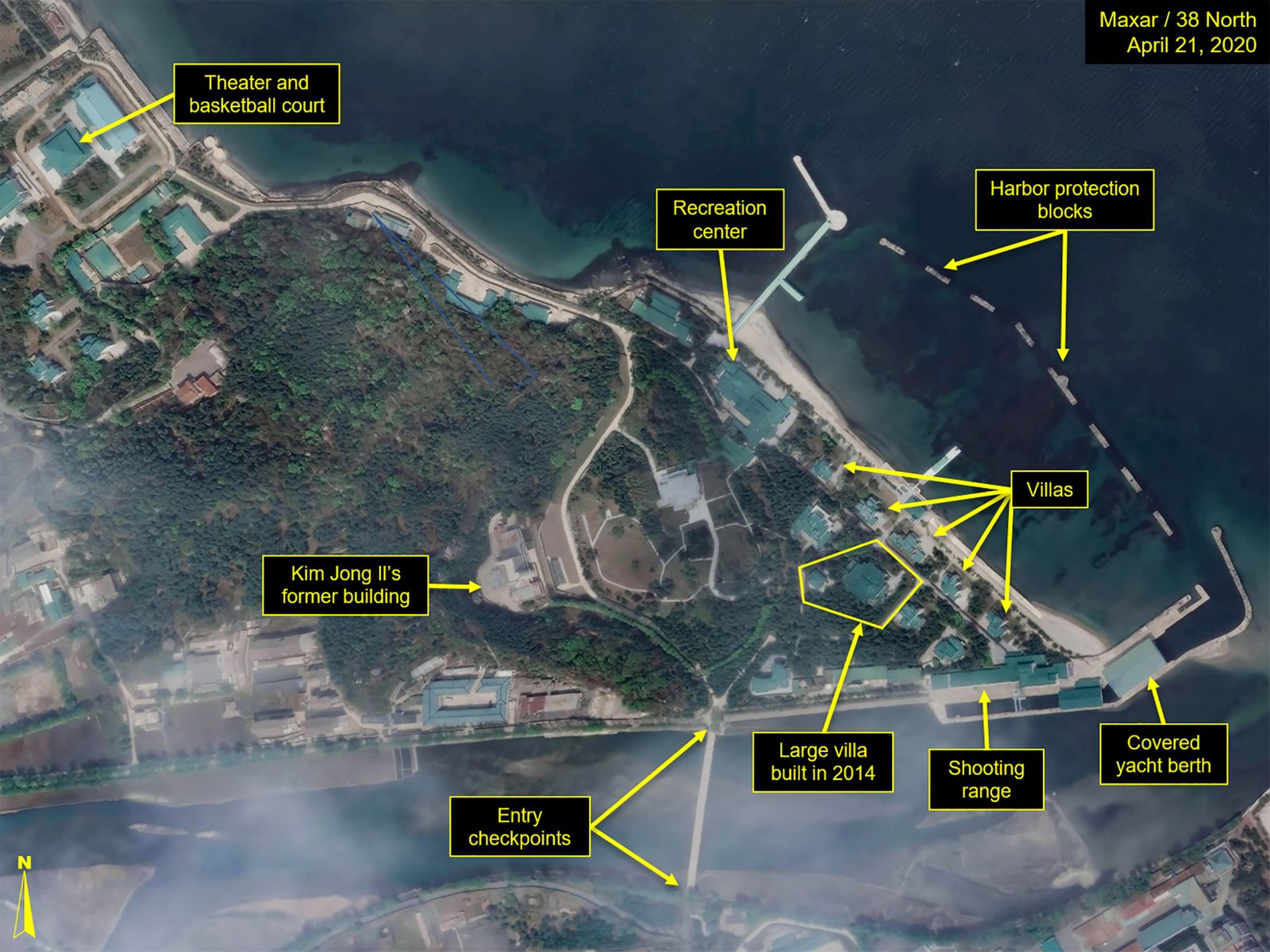 Leadership train station servicing North Korean leader Kim Jong Un's Wonsan complex is seen in a satellite image