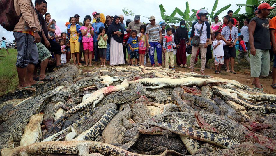 Dorfbewohner mit den getöteten Tieren