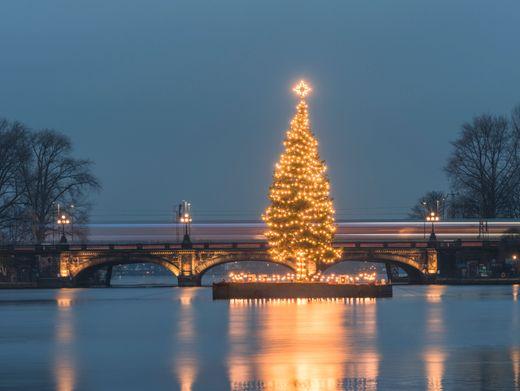 Weihnachtsbaum auf der Hamburger Binnenalster