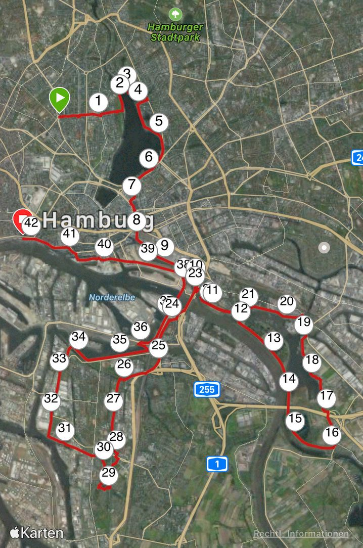 """""""Virtueller Düsseldorf-Marathon"""" - das war meine Laufstrecke: Start im Hamburger Grindelviertel, Ziel im Hamburger Hafen"""