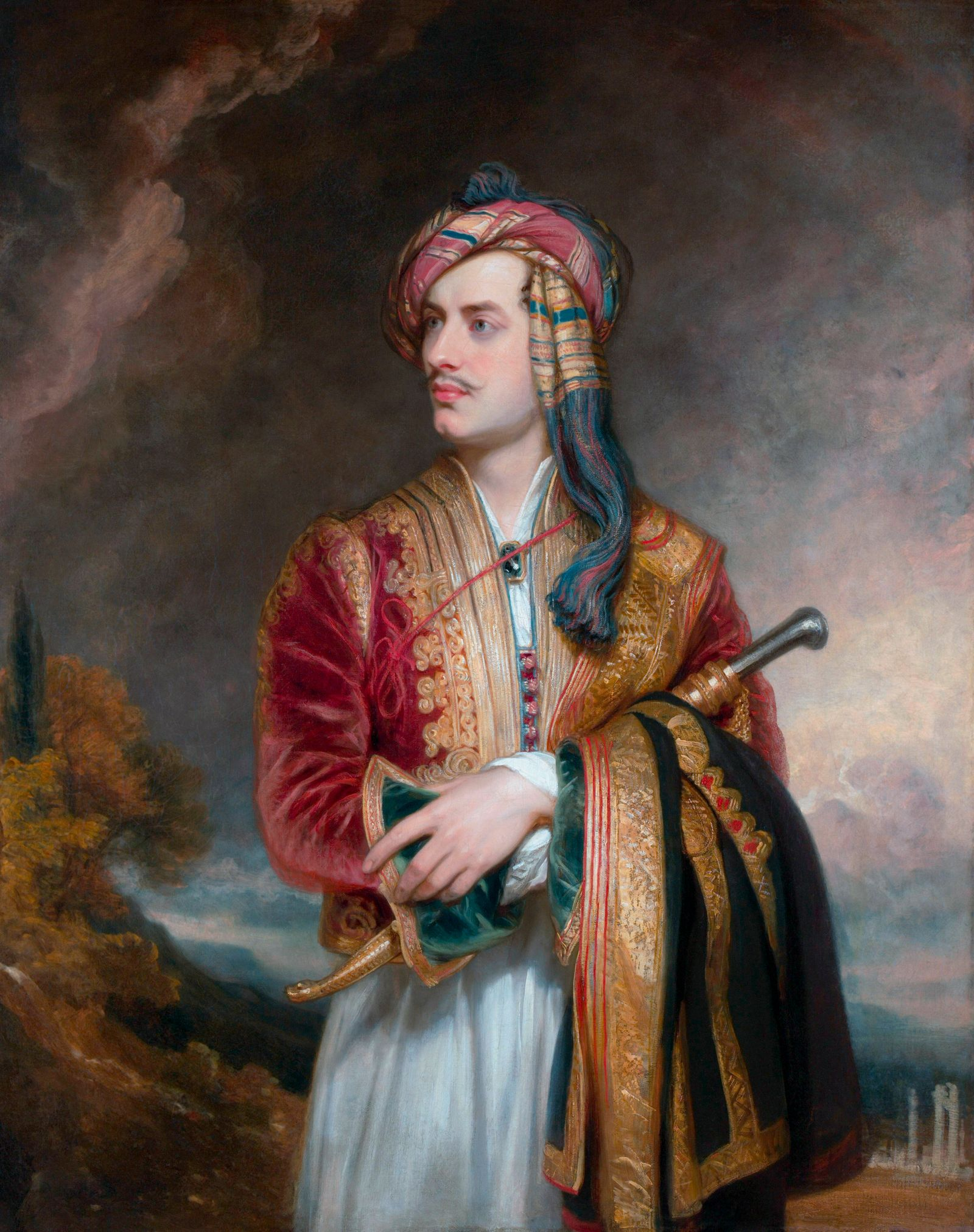 Literary history painting of English poet Lord Byron in Albanian Dress. Original by Thomas Phillips, 1813. Copyright: Ve