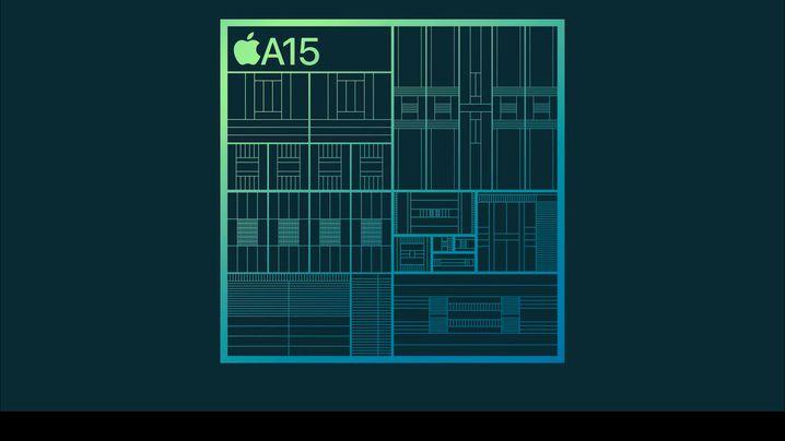 Der A15-Chip mit vier (l.) und mit fünf Grafikkernen