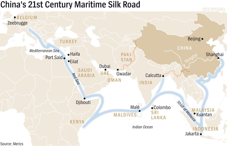 ENGLISH VERSION GRAFIK DER SPIEGEL 36/2016 Seite 94 - China's 21st Century Maritime Silk Road