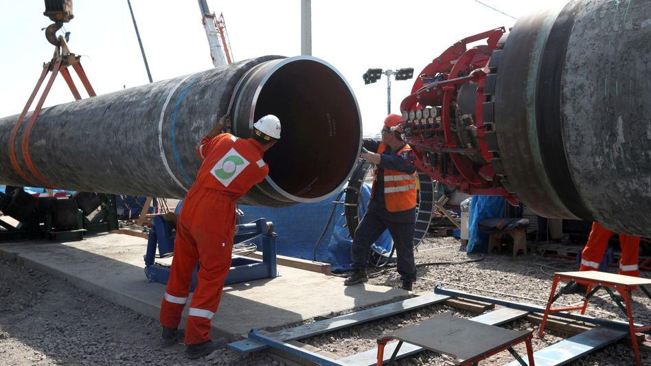 Baustelle der Ostseepipeline in Russland