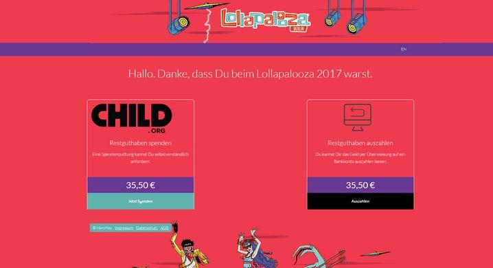 Blick in eine fremde Lollapalooza-Guthabenübersicht (aus dem September)