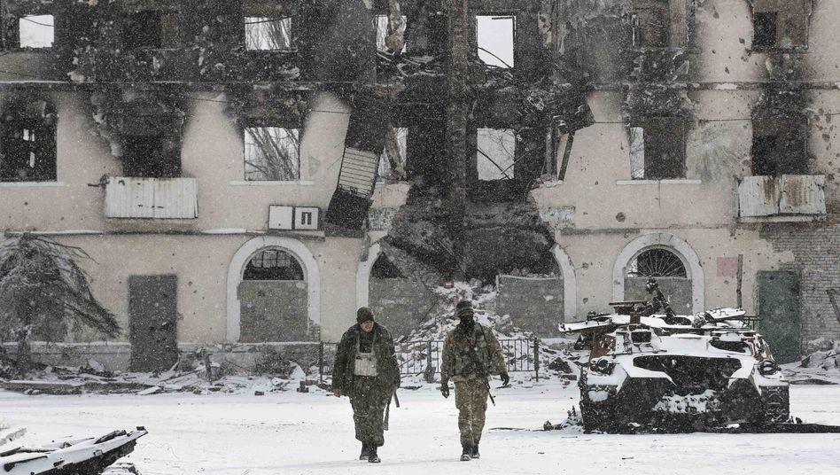 Umkämpfte Stadt Debalzewe in der Ostukraine (Februar 2014)