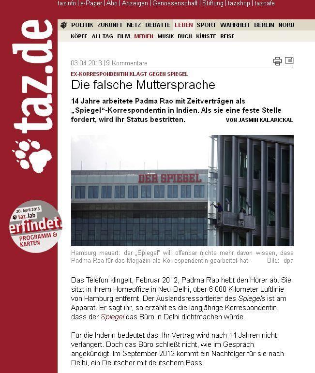 NUR ALS ZITAT taz 3.4.2013: Ex-Korrespondentin klagt gegen den SPIEGEL