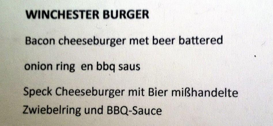 Aus der Speisekarte eines Restaurants in Südholland