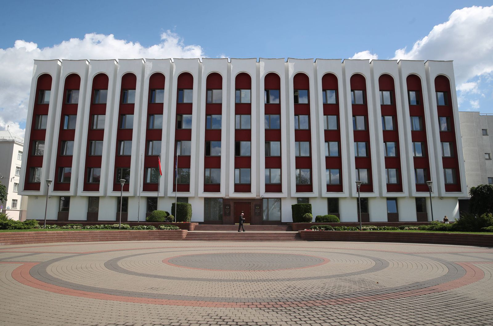 MINSK, BELARUS - JULY 30, 2020: An outside view of the building of the Ministry of Foreign Affairs of Belarus in Lenin