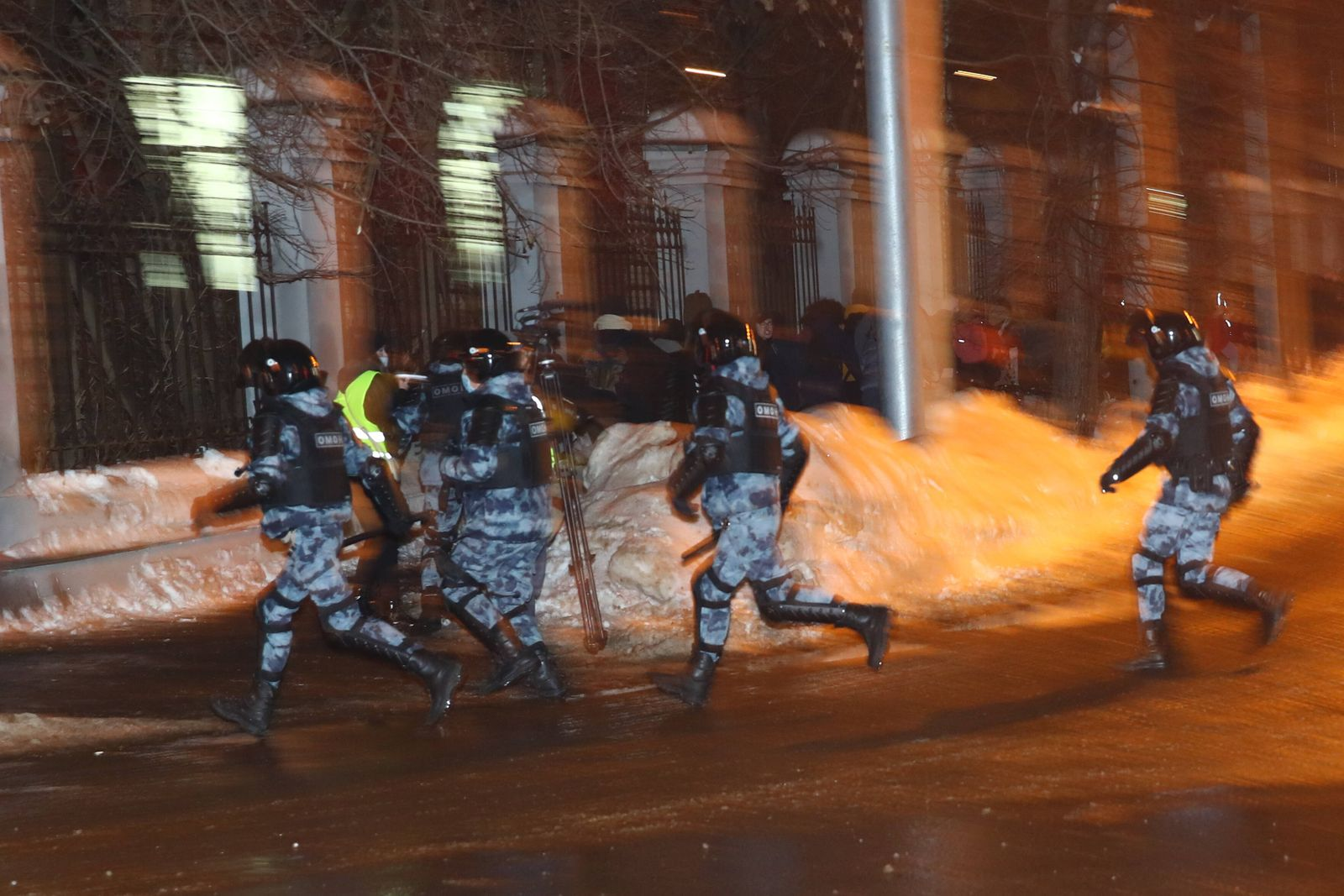 MOSCOW, RUSSIA - JANUARY 23, 2021: Riot police officers guard the area near the Matrosskaya Tishina pre-trial detention