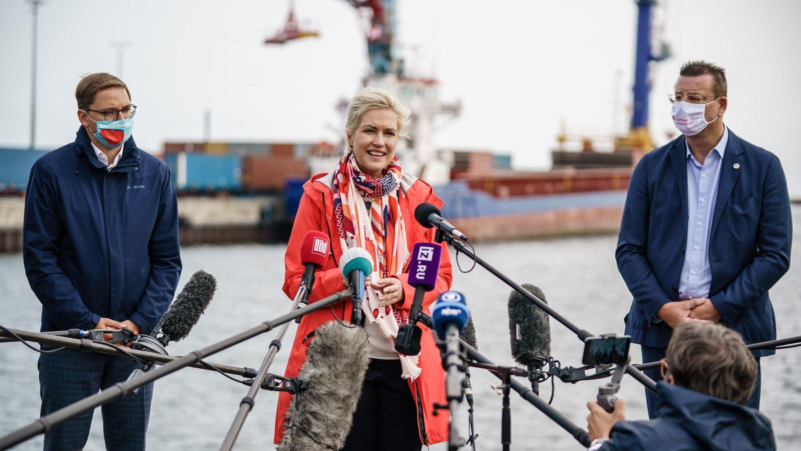 Mecklenburg-Western Pomerania State Premier Manuela Schwesig gives statement on Nord Stream 2 project, Sassnitz, Germany - 11 Sep 2020