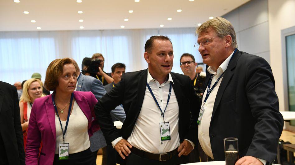 AfD-Größen Beatrix von Storch, Tino Chrupalla und Jörg Meuthen (September 2019): Latente Konflikte nun ausgebrochen