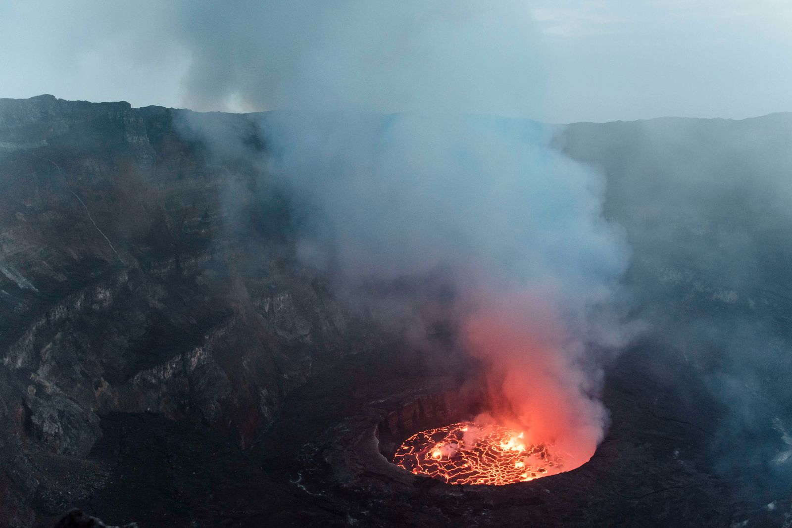 The lava lake seen from the top of the main crater of Mount