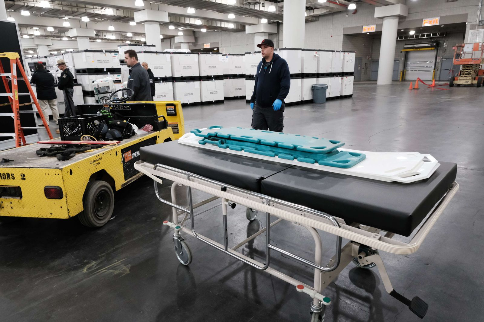 New York Governor Andrew Cuomo Tours Temporary FEMA Hospital Being Setup At Javits Convention Center