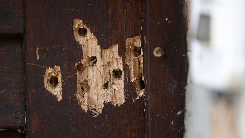 Einschusslöcher in der Tür der Synagoge