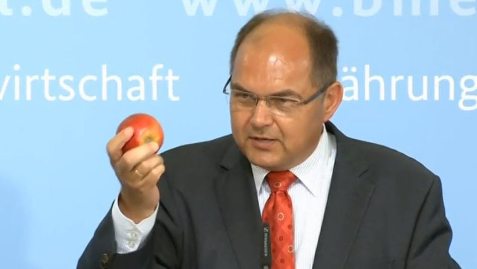 Minister Schmidt mit Apfel: Fünf Portionen Obst am Tag