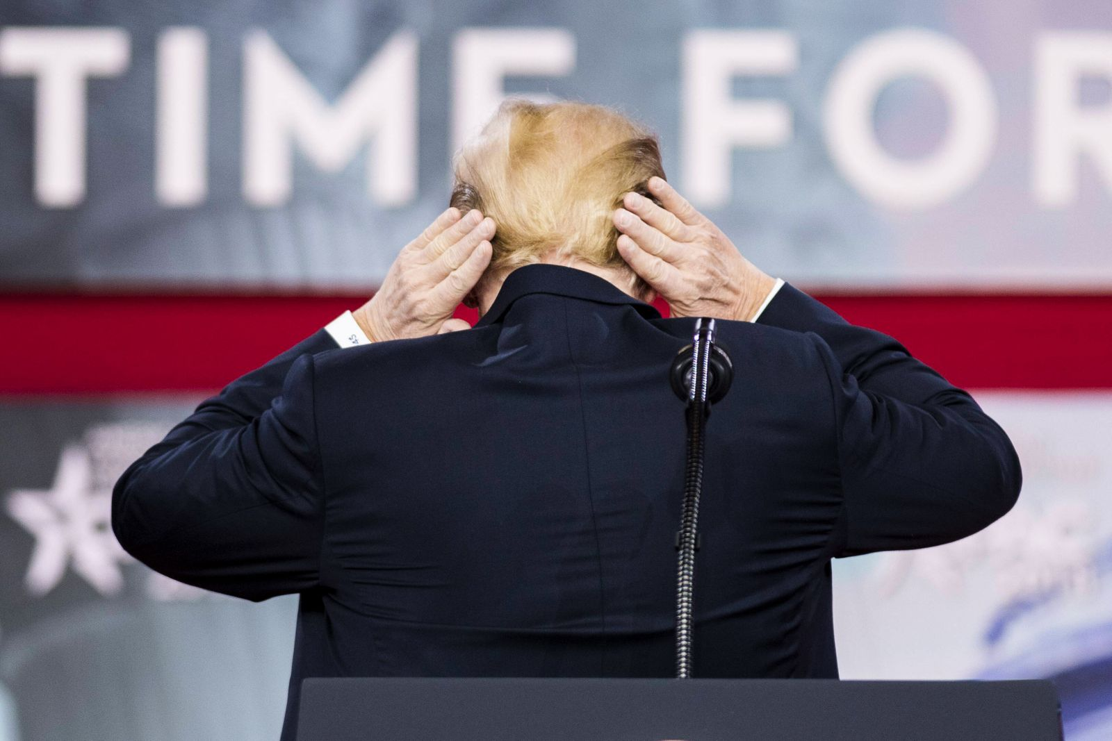 February 23 2018 Oxon Hill MD U S President DONALD TRUMP showing off his hair at the Conserva
