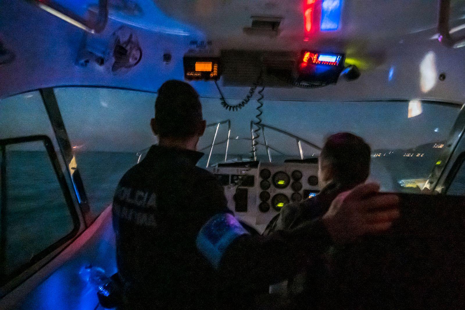 Frontex patrol boat along the Greek -Turkish sea border.