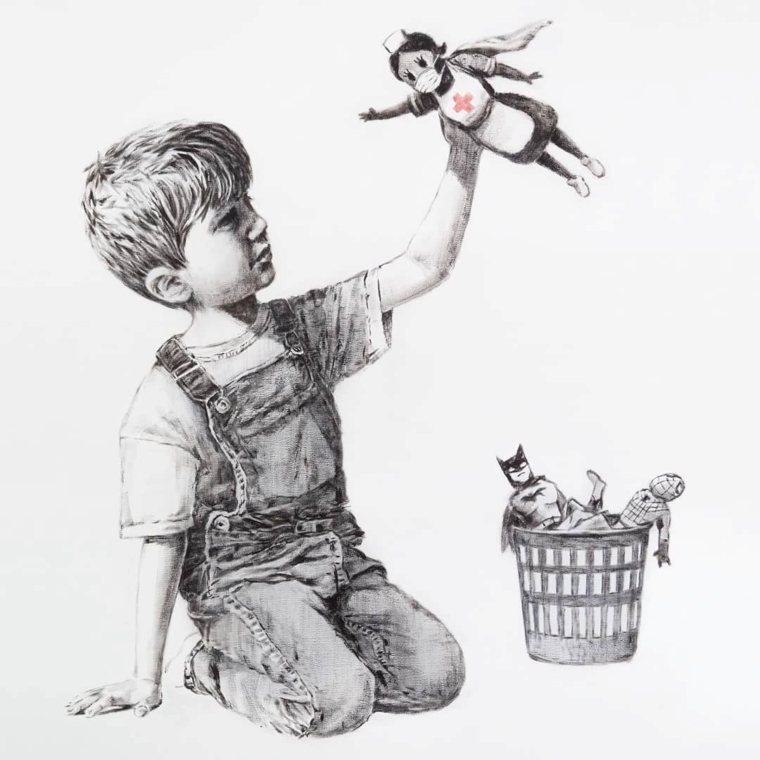 """A picture shows a drawing created by the street artist Banksy called """"Game Changer"""" as an appreciation for the NHS and is on display at Southampton General Hospital, in Southampton"""