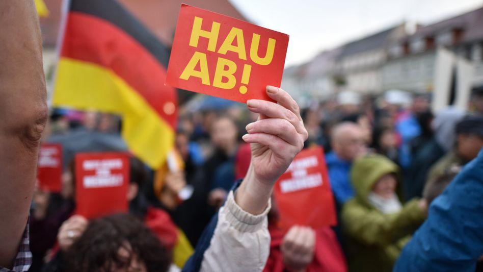 Proteste gegen Angela Merkel (Archivbild)