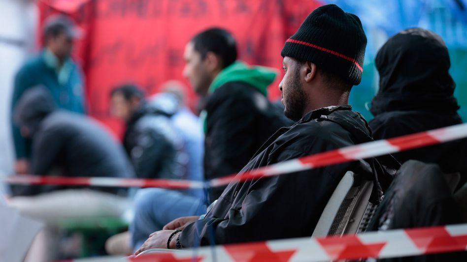 Hungerstreikende Asylbewerber in München (Archivbild): Protestcamp