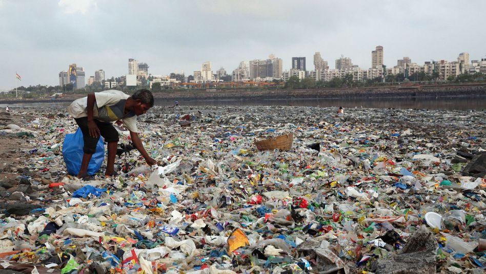 Mann sammelt Plastik am Arabischen Meer