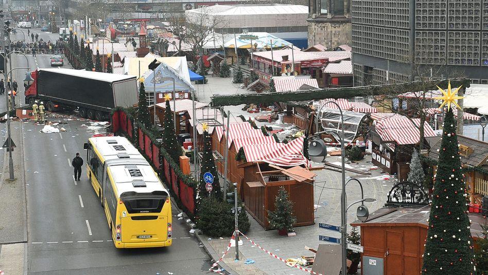 Der Berliner Breitscheidplatz nach dem Anschlag am im Dezember 2016