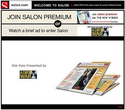 Vorschaltseite bei Salon.com: Entweder Zahlen oder Werbung sehen, bevor es weitergeht