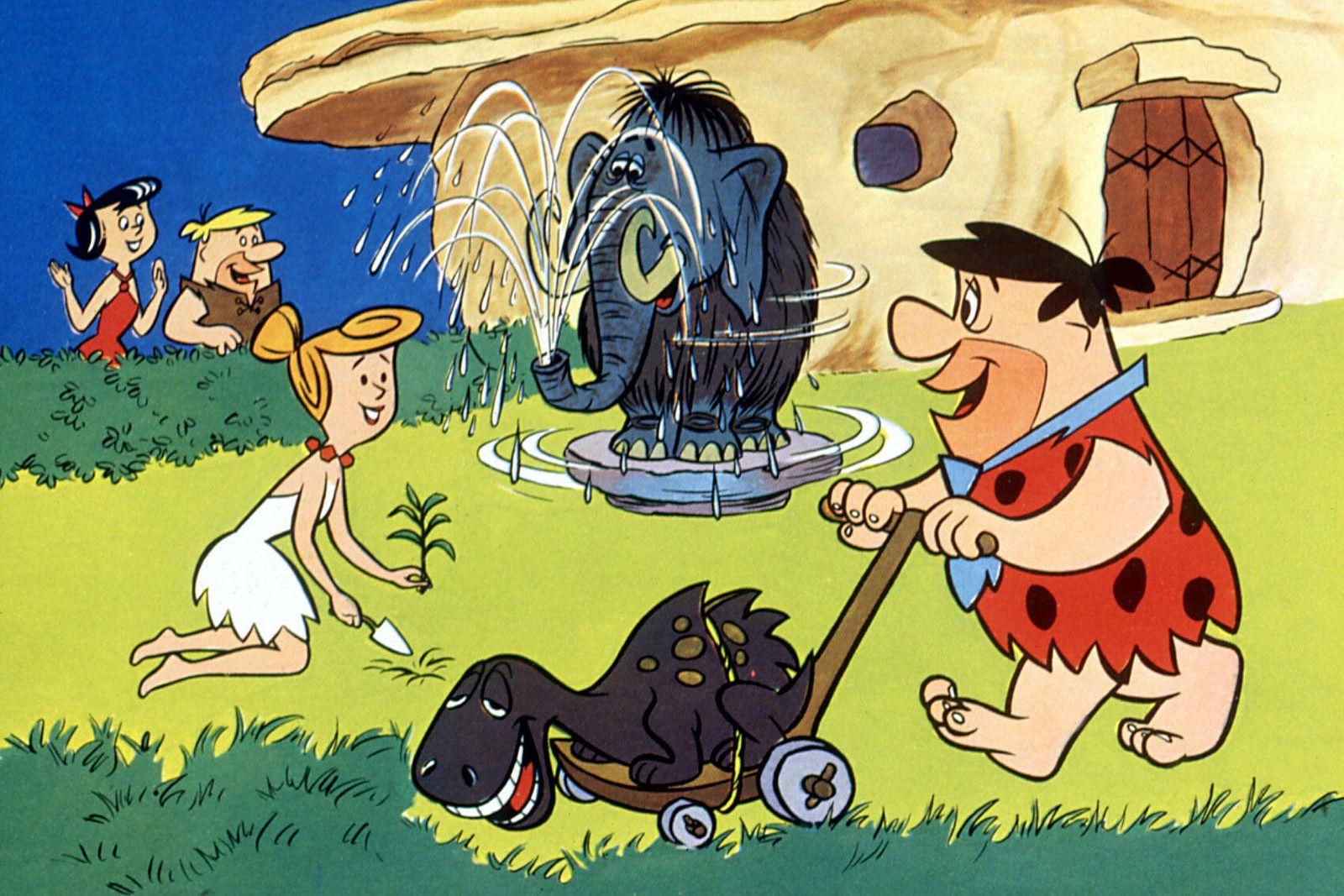 FLINTSTONES, Betty Rubble, Barney Rubble, Wilma Flintstone, Fred Flintstone, 1960-1966, mowing the lawn Courtesy Everett