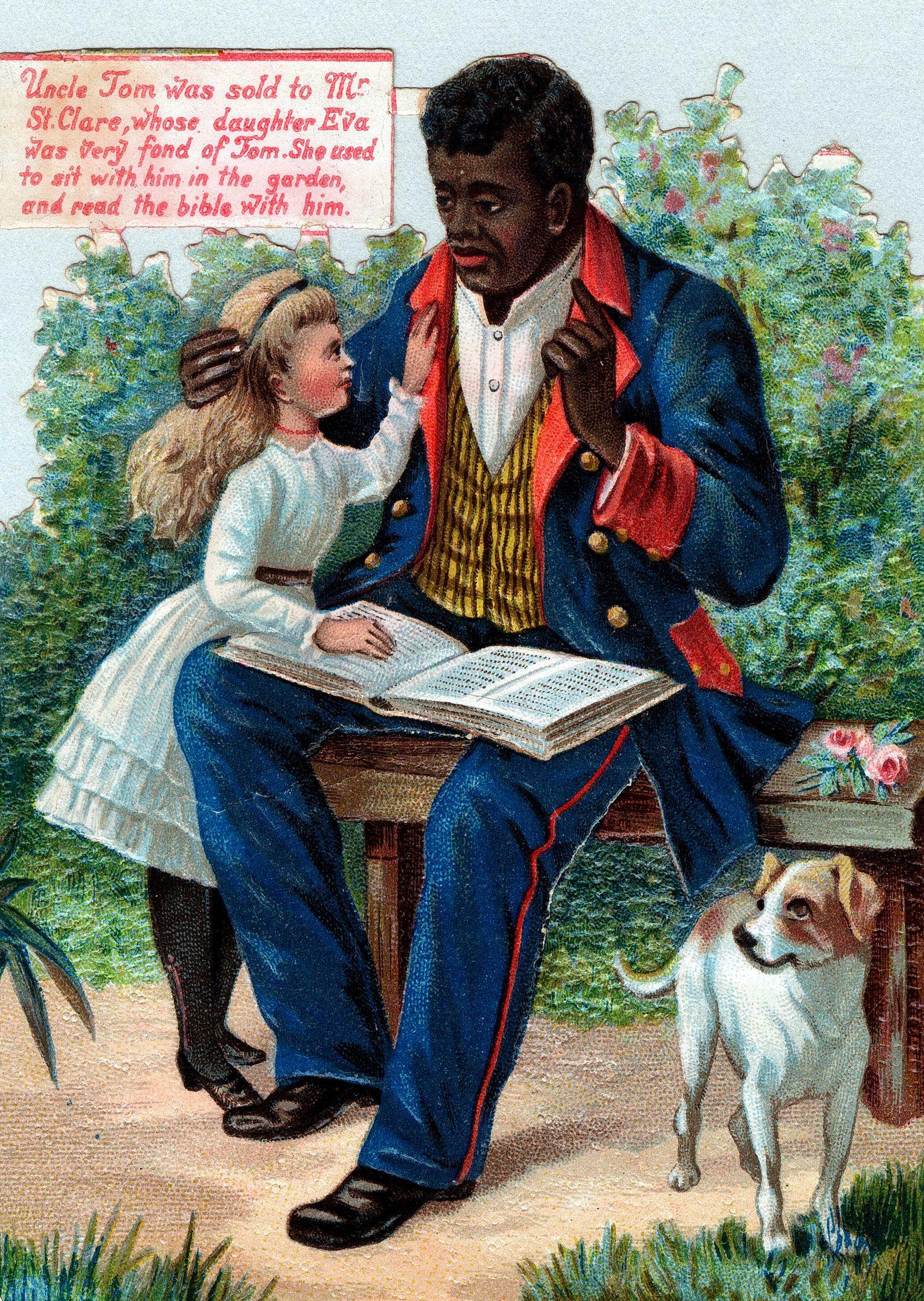 STOWE Oeuvre Uncle Tom & Eva lisent la bible dans un jardin. D apres La case de l Oncle Tom de STOWE. Chromo vers 1890,