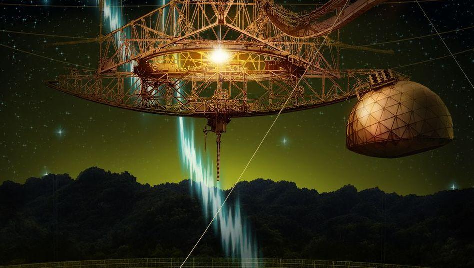 Arecibo-Radioteleskop mit grafisch dargestelltem Radiosignal