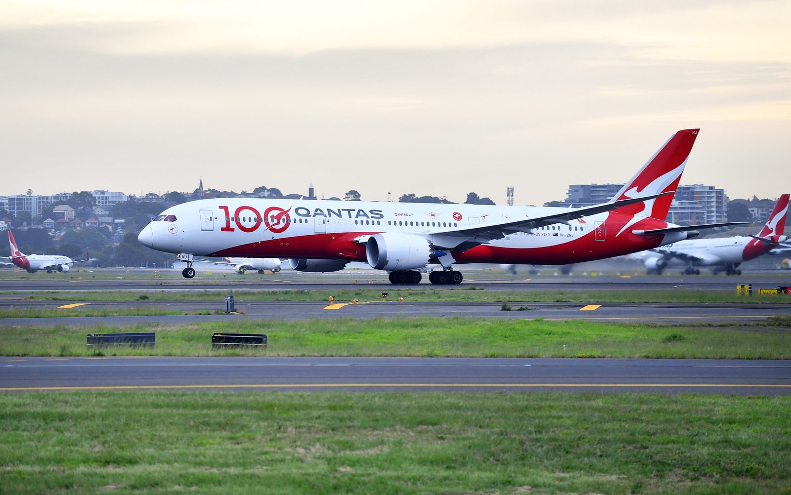Qantas Airways QF100 flight, which marks the airline's 100th birthday, is seen at Sydney Airport before flying over Sydney Harbour in Australia