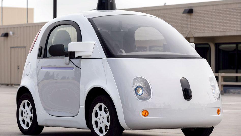 Computer-Maus oder Auto? Dieses weiße Etwas ist der Prototyp des Google-Autos