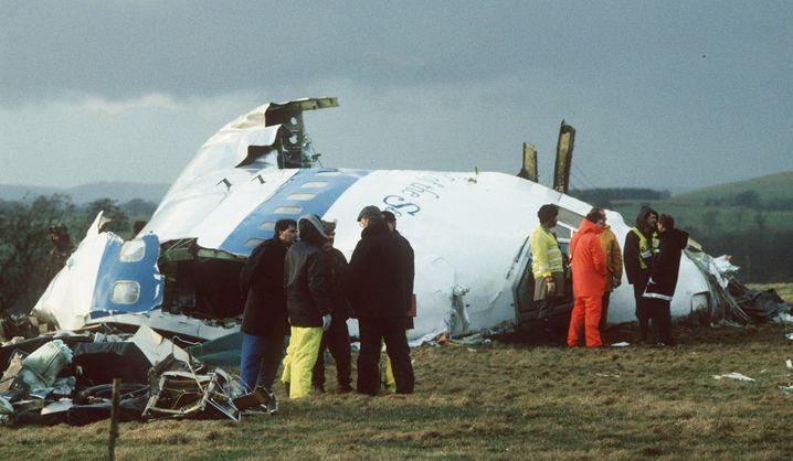 Die Überreste der über Lockerbie explodierten Maschine im Jahr 1988